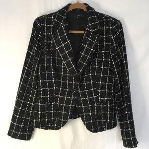 Zara black and white plaid blazer